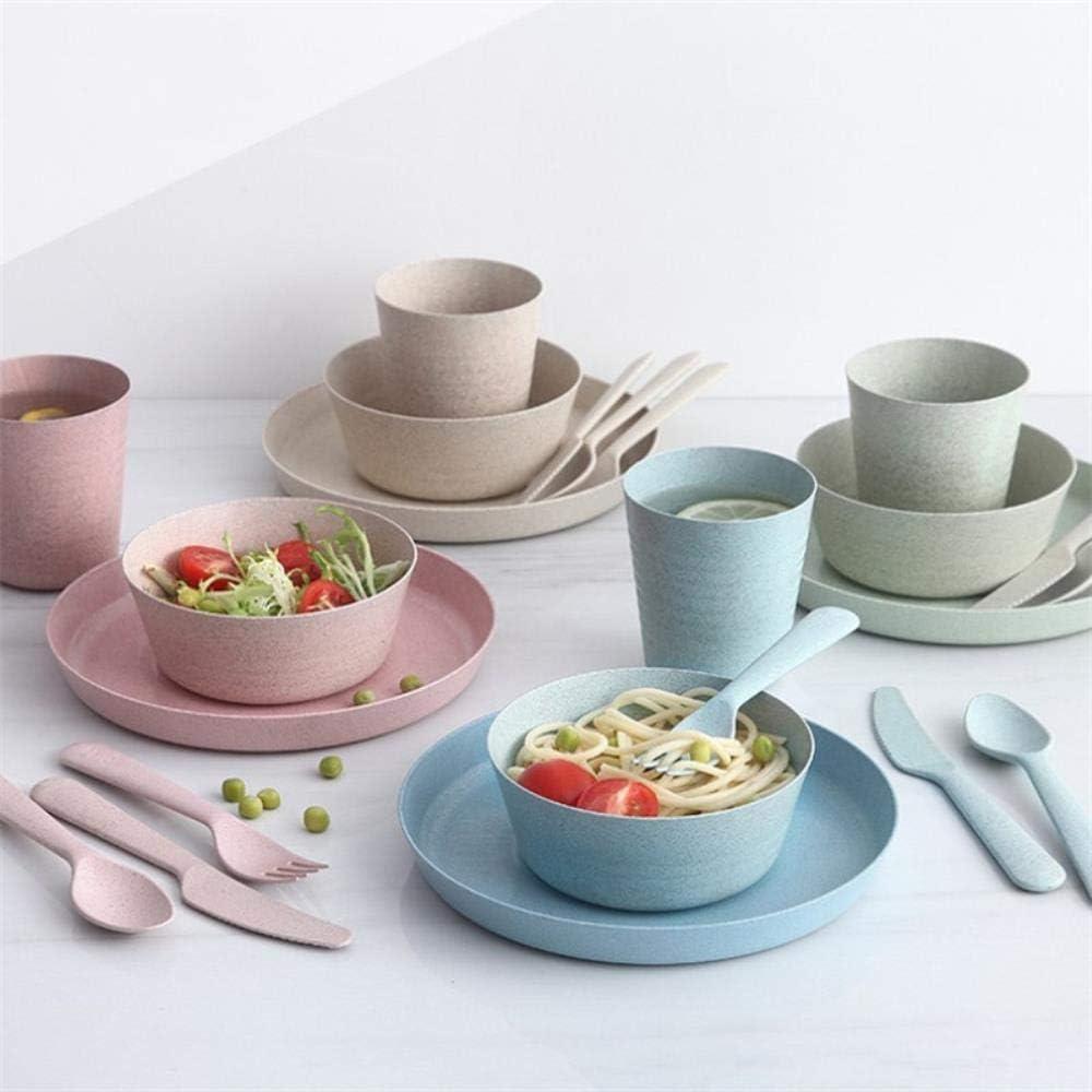 MIN 4 St/ück tragbares wiederverwendbares Haushaltsgeschirrset Kinder Erwachsene L/öffel Gabel Tasse Salat Suppe Sch/üssel Teller Weizenstroh K/üchengeschirr 4 St/ück Sch/üssel