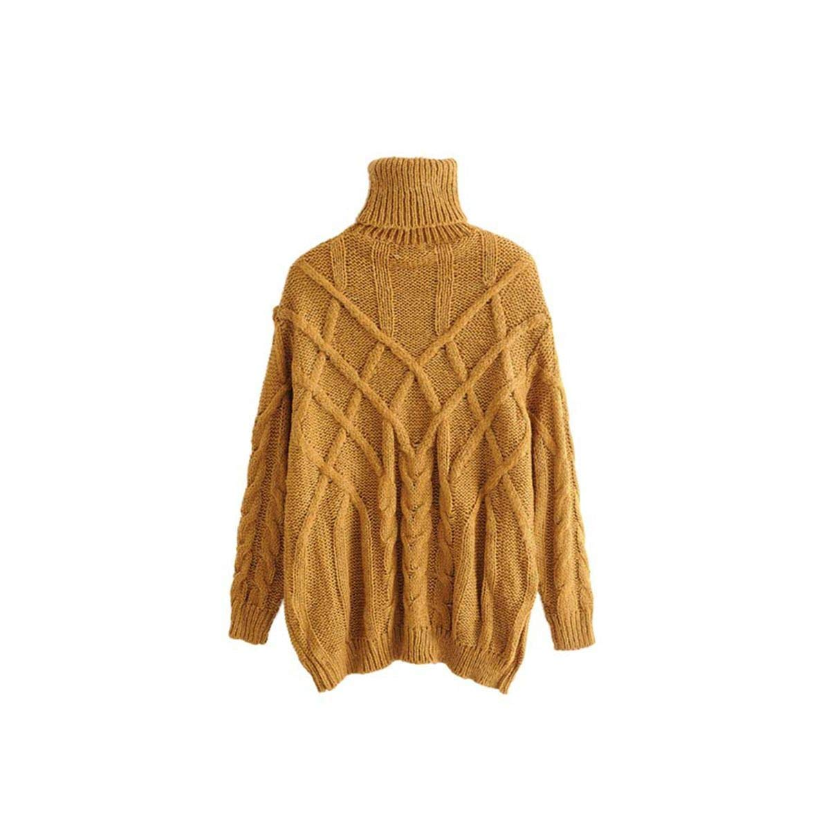 BRNEBN Women Turtleneck Knitted Sweater Long Sleeve Stretchy Solid Pullovers Female Cozy Warm Casual Loose Top
