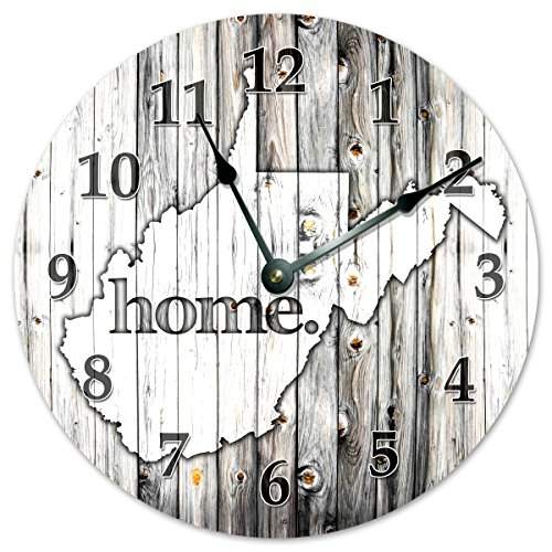 WEST VIRGINIA STATE HOME CLOCK Black and White Rustic Clock - Large 10.5