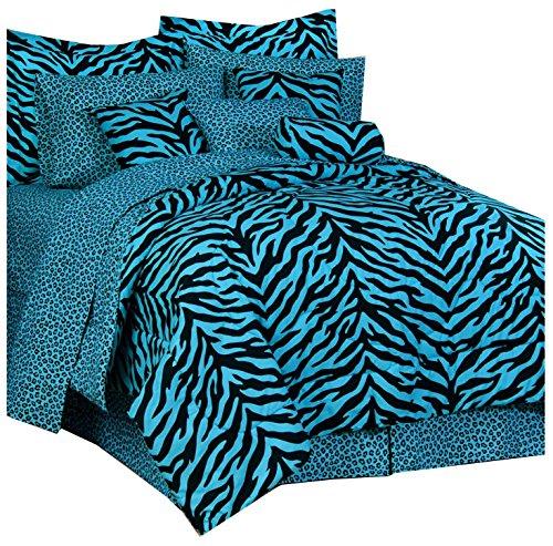 Karin Maki Zebra Complete Bedding Set, X-Large Twin, Blue