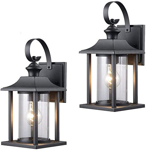 Twin Pack – Designers Impressions 73478 Black Outdoor Patio Porch Wall Mount Exterior Lighting Lantern Fixtures with Clear Glass