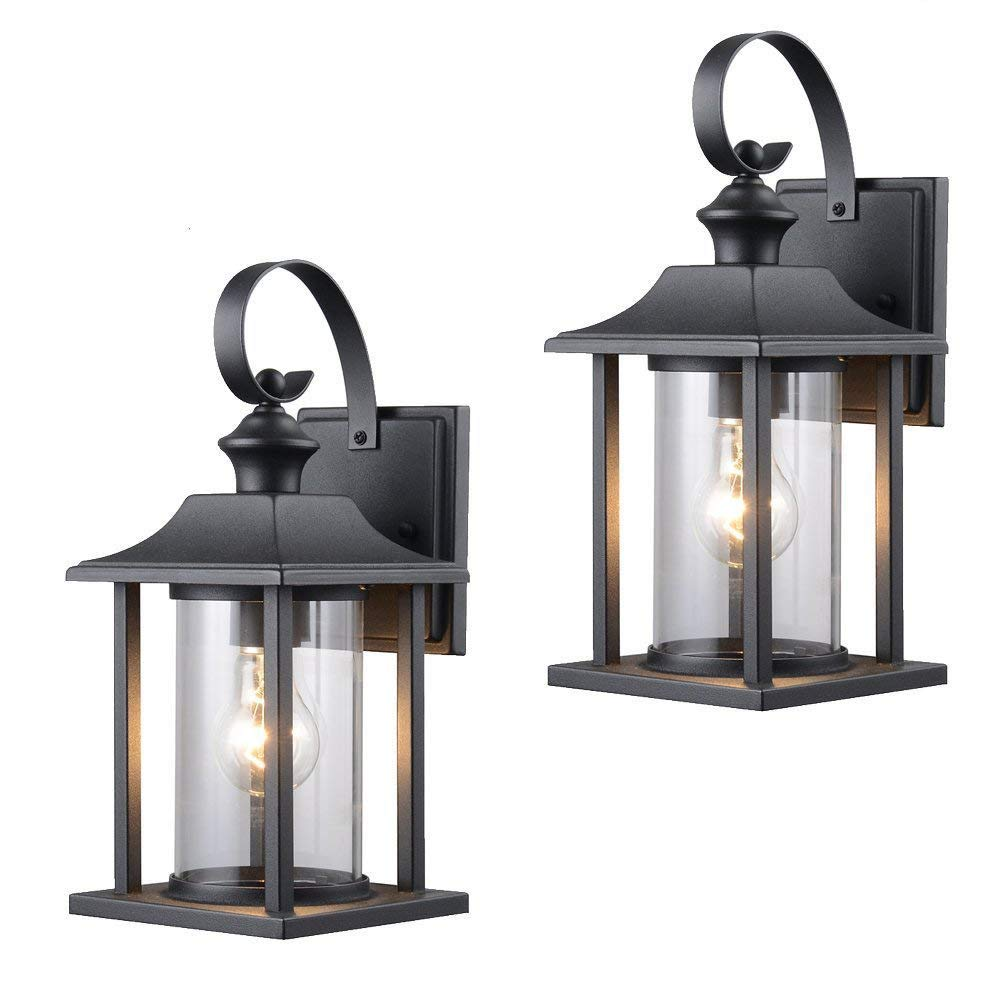 Twin Pack - Designers Impressions 73478 Black Outdoor Patio/Porch Wall Mount Exterior Lighting Lantern Fixtures with Clear Glass by Designers Impressions