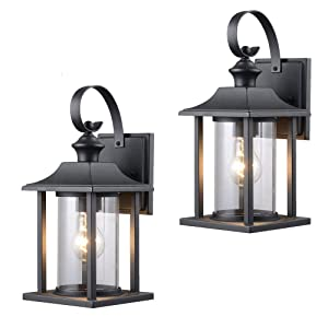 Twin Pack - Designers Impressions 73478 Black Outdoor Patio/Porch Wall Mount Exterior Lighting Lantern Fixtures with Clear Glass