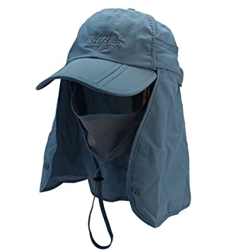 GenialES 360 Grados Protección UV50+ Pasamontañas Sombrero con Máscara Capa de Cuello Desmontable Unisexo para Pesca