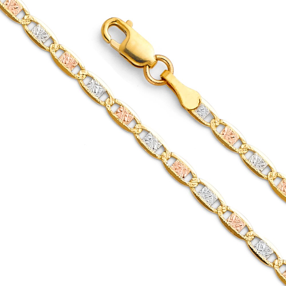 TWJC 14k Tri Color Gold Solid 2.5mm Valentino Chain Bracelet with Lobster Claw Clasp - 7''