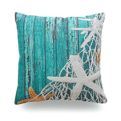 Hofdeco Decorative Throw Pillow Case Aqua Turquoise Ocean Coastal Nautical Sea Horse Starfish Seashells House Fish Whale Dolphin Indoor Outdoor HEAVY WEIGHT FABRIC Cushion Cover 18x18 12x20 Inches