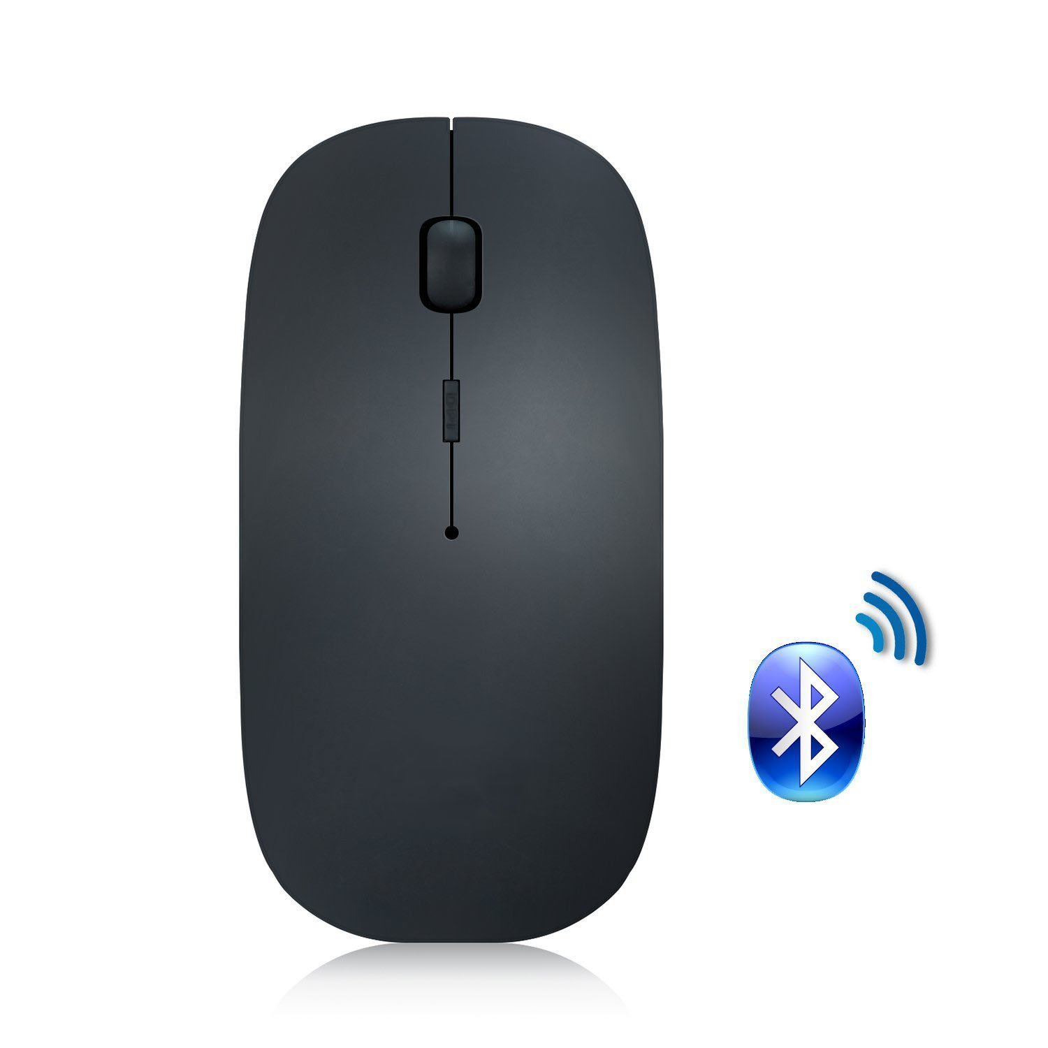 Bluetooth Mouse, Attoe Portable Ultra Thin Noiseless Bluetooth Wireless Rechargeable Optical Mouse with Adjustable DPI for PC Laptop Tablet Notebook(Black)