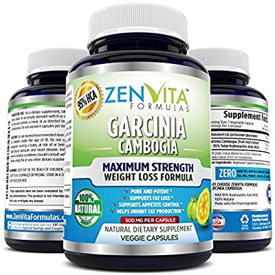 [ 95% HCA ] Pure Garcinia Cambogia Extract - Highest Potency, Extremely Powerful NEW and IMPROVED Formula, Maximum Strength Natural Weight Loss Supplement, Appetite Suppressant, Fat Burner, and Carbs Blocker by ZenVita Formulas