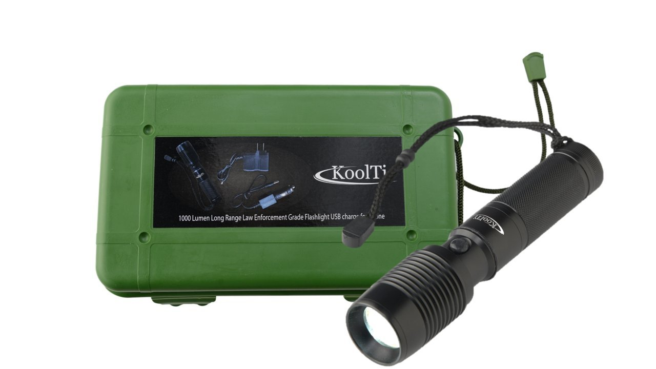 1000 Lumen Long Range XM-L T6 Law Enforcement Grade, Super Bright LED Rechargeable Police Flashlight, USB Cell Phone Charger, Tactical Emergency Searchlight for Hunting/Fishing/Walking the Dog/Camping/Indoor Activities, Torch Adjustable Zoomable Cree KoolT