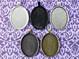 5 Pack - CleverDelights 30x40mm Oval Pendant Trays - Mix Pack - Pendant Blanks Settings Photo Jewelry