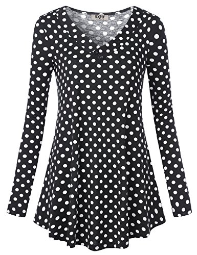 DJT Women's Long Sleeve V Neck Tunic Top Shirt Printed A Line Loose Fit Blouse Black Polka Dots Casual Tunic XL