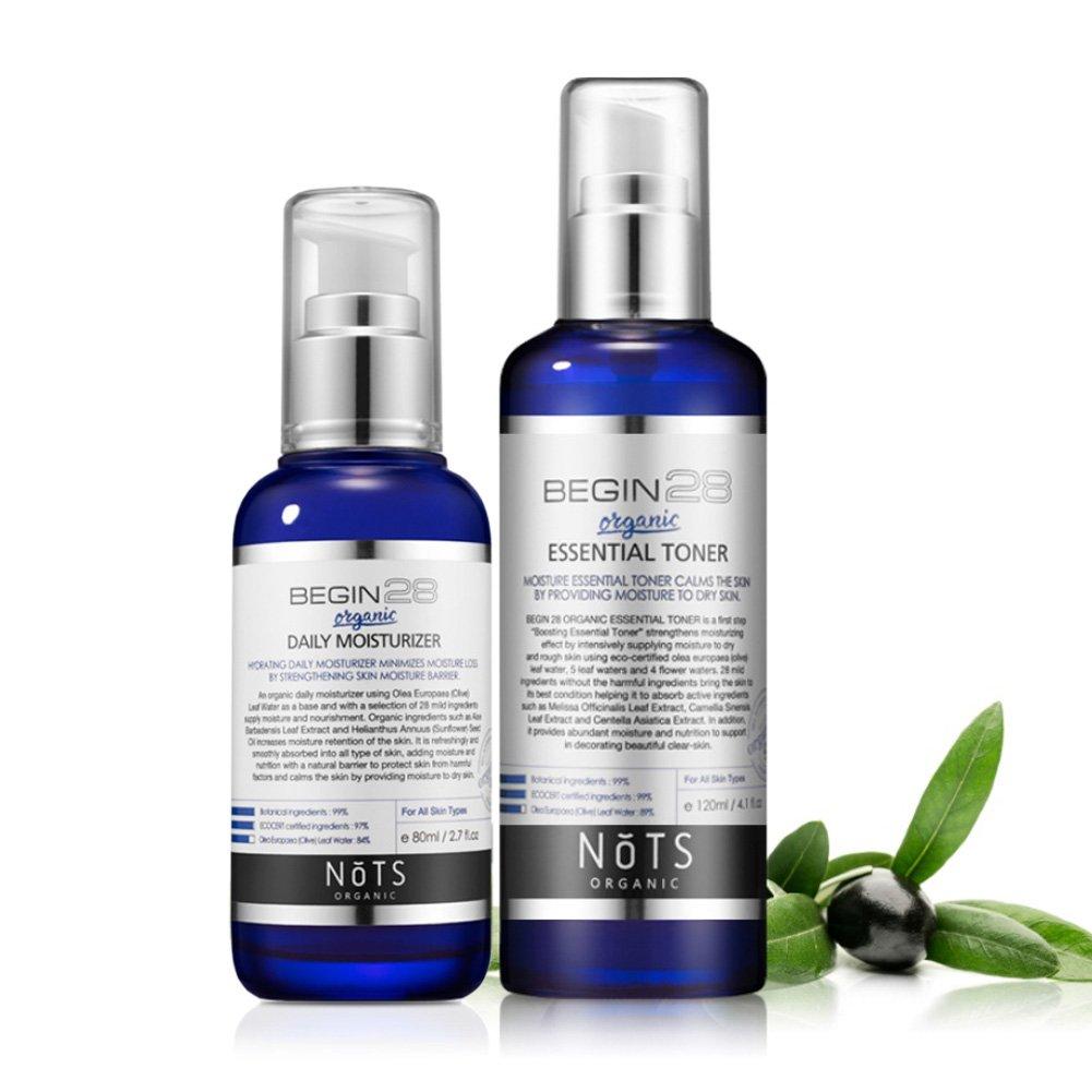 dckr todos Organic Essential tóner + Facial Moisturizer Juego de piel de extracto de hoja de olivo y complejo natural relajante - Nutrición 4.1 + 2,7 FL OZ: ...