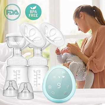 ZEHNHASE Sacaleches Eléctrico Extractor de leche transparente lactancia doble de succión portátil (Azul)
