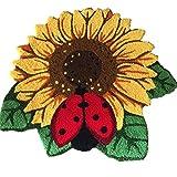 "YOUSA Sunflower Door Mat Flower Shaped Rug Anti-slip Floor Mat 30.3""25.6"""
