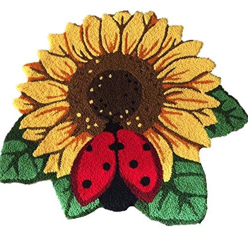 YOUSA Sunflower Door Mat Flower Shaped Rug Anti-slip Floor Mat 30.3''25.6''