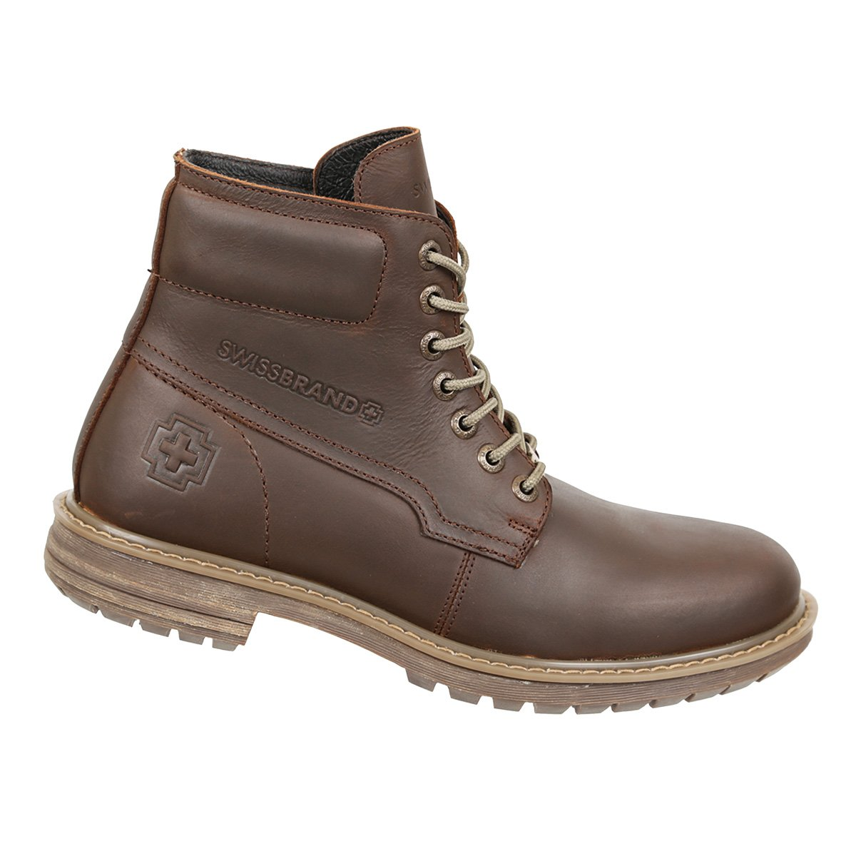 Swissbrand Mens Casual High-Top Lace-Up Boot Coffee 12.5