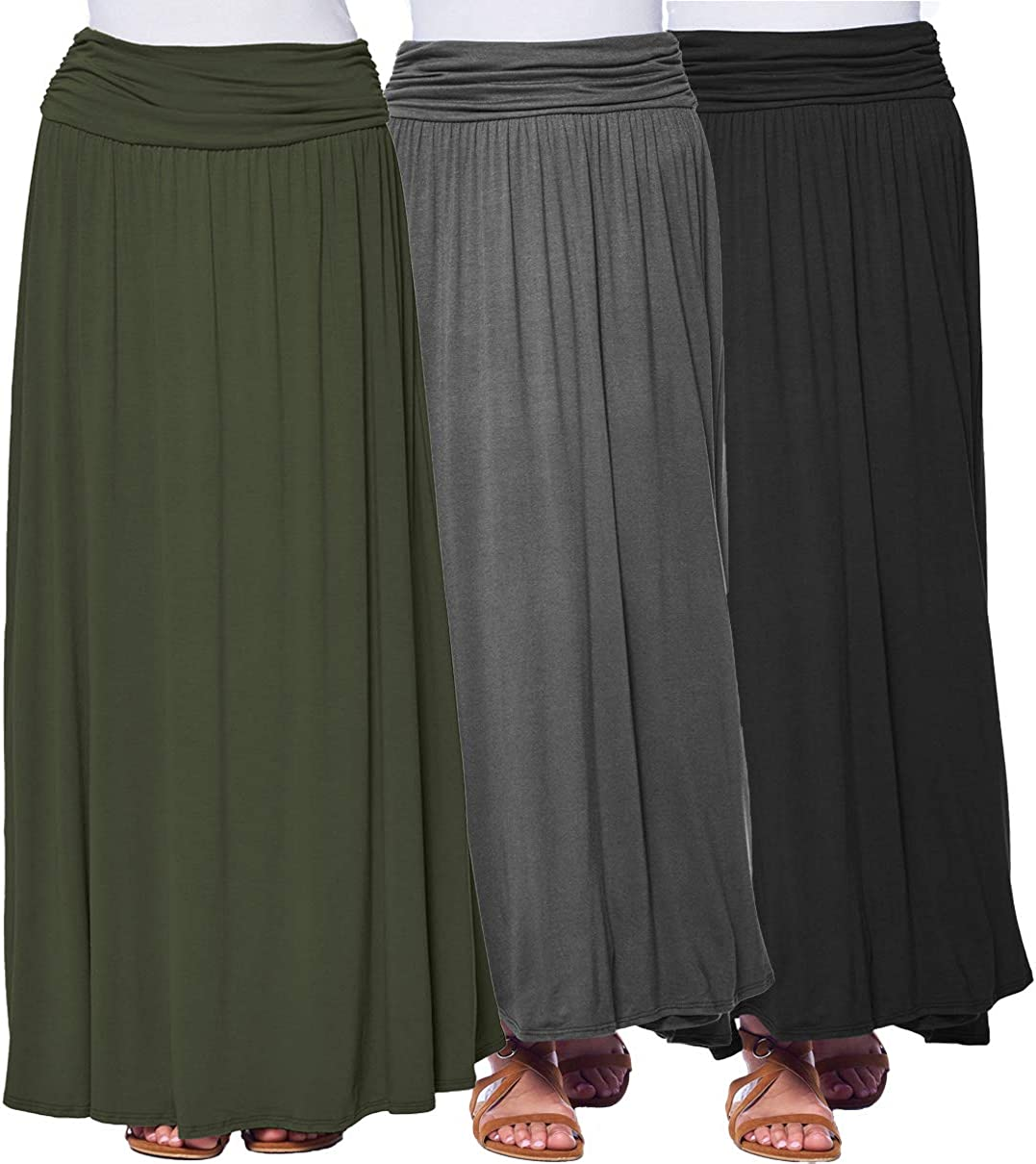 Max 59% OFF Isaac Liev Lowest price challenge Women's Maxi Skirt – Pack 3 Fold Waisted High Ruched