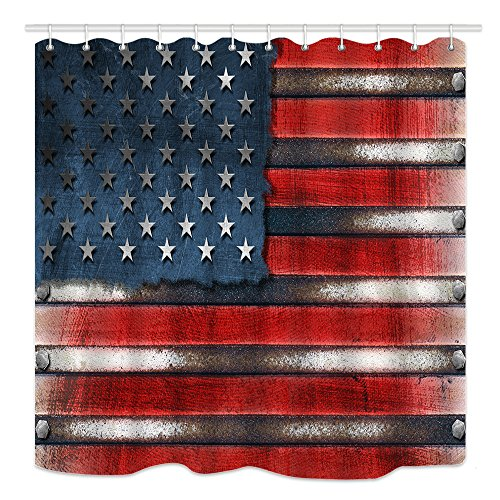 DYNH America Flag Shower Curtain, Usa grungy metal flag with bolts heads, Mildew Resistant Waterproof Polyester Fabric Bathroom Decor, Bath Curtains Accessories, with Hooks, 69X70 Inches by DYNH