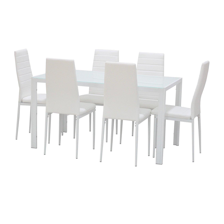 EBS Set da Pranzo, Set di Sedie di Moda Ecopelle e Tavolo in Vetro per Casa, Sala, Cucina - Confezione da 7 (6 Sedie + Tavolo), Bianco