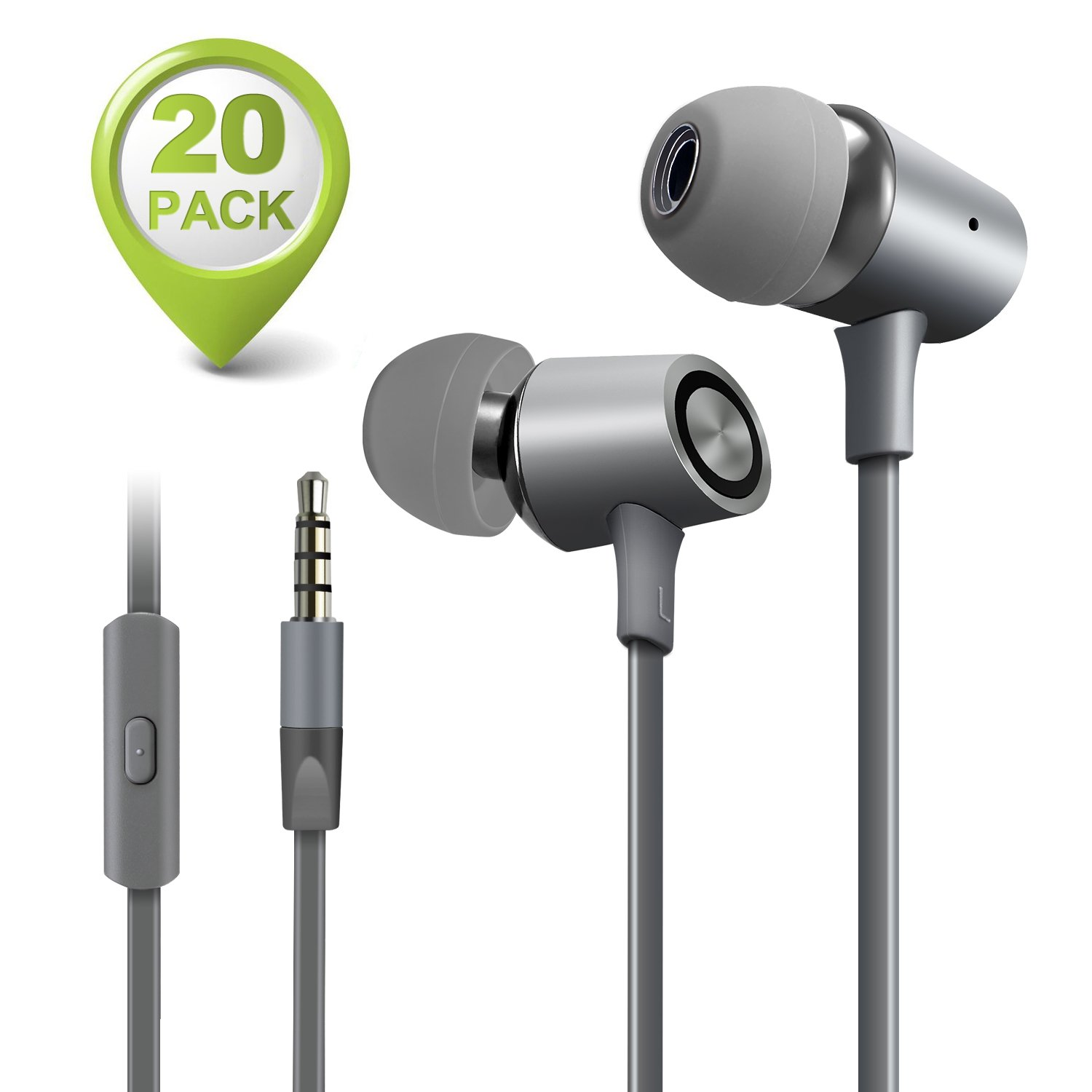 M-Better In-ear Earphones, Wired Earphones Sound Isolating Headphones with Microphone 3.5mm Sports Headphone Earphones for Apple Android and Other Devices (20 Pack gray)