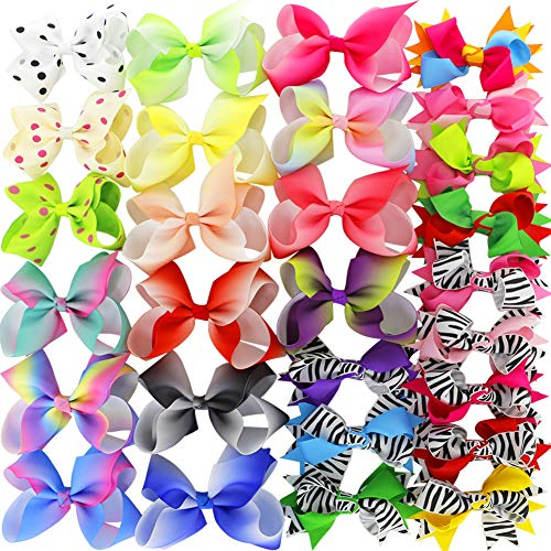 Myamy 4.5in Grosgrain Ribbon Hair Bows Boutique Rainbow bows Clips For Baby Girls Teens Toddlers Set Of 28 from Myamy