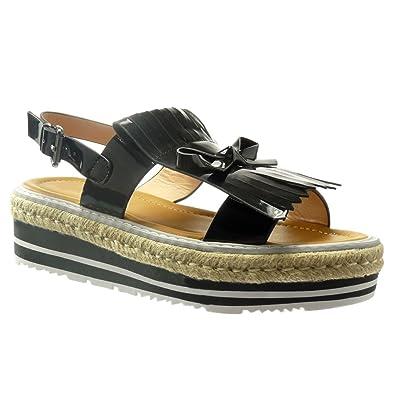 Angkorly Zapatillas Moda Sandalias Alpargatas Plataforma Mujer Fleco Nodo Patentes Talón Plataforma 5 cm: Amazon.es: Zapatos y complementos