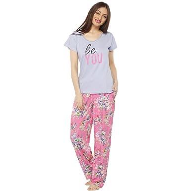09d0baab10 VIXENWRAP Baby Blue   Cute Pink Floral Print Top   Pyjama Set(XXL Blue)