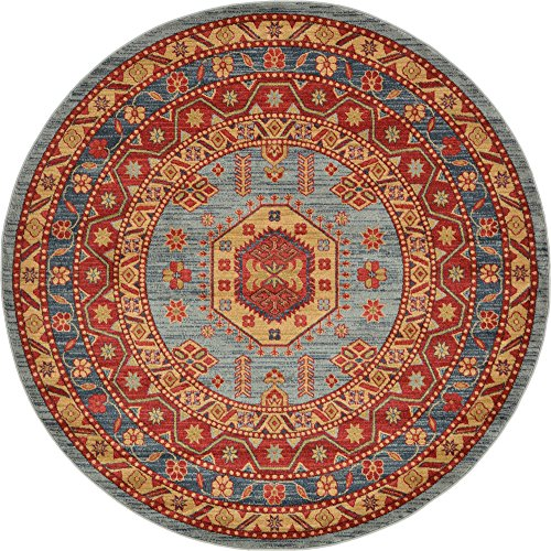 Unique Loom Sahand Collection Traditional Geometric Classic Light Blue Round Rug (6' 0 x 6' 0)