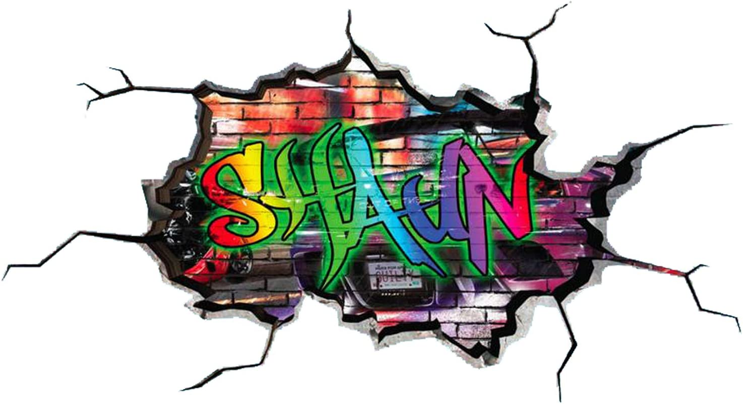 Details about  /FULL COLOR PERSONALIZED 3D GRAFFITI NAME CRACKED WALL ART STICKERS MURAL WSD134