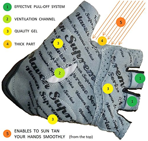 Cycling Gloves Haven SOLAR - Short - Enables to Sun tan Your Hands Smoothly - Durable, Light, Comfortable with Effective Pull-off System
