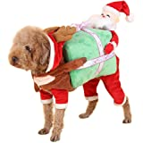 NACOCO Dog Costume Carrying Gift Box with Santa Claus Pet Cat Costumes Funny Christmas Party Festival Holiday Outfit
