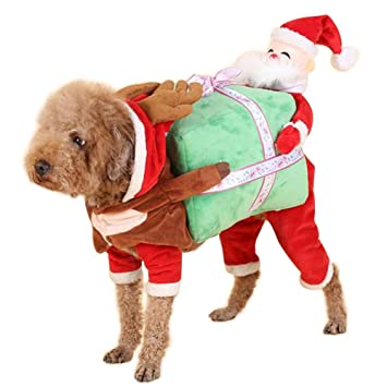 Christmas Dog Costumes.Nacoco Dog Costume Carrying Gift Box With Santa Claus Pet Cat Costumes Funny Christmas Party Festival Holiday Outfit