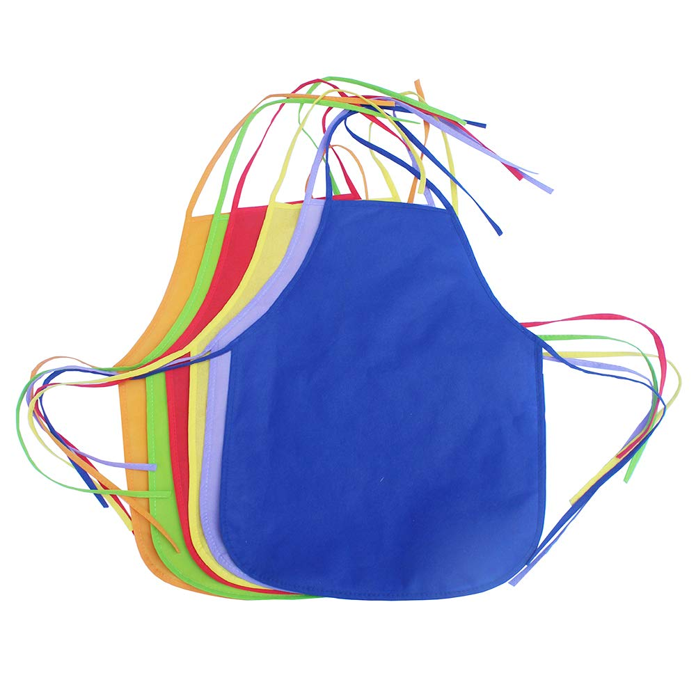 Crafts Art Kids Painting Aprons Ages 3 and Up Classroom Community Event Kbraveo 24 Pieces 12 Colors 13 x 19 inches Childrens Artists Fabric Aprons for Kitchen