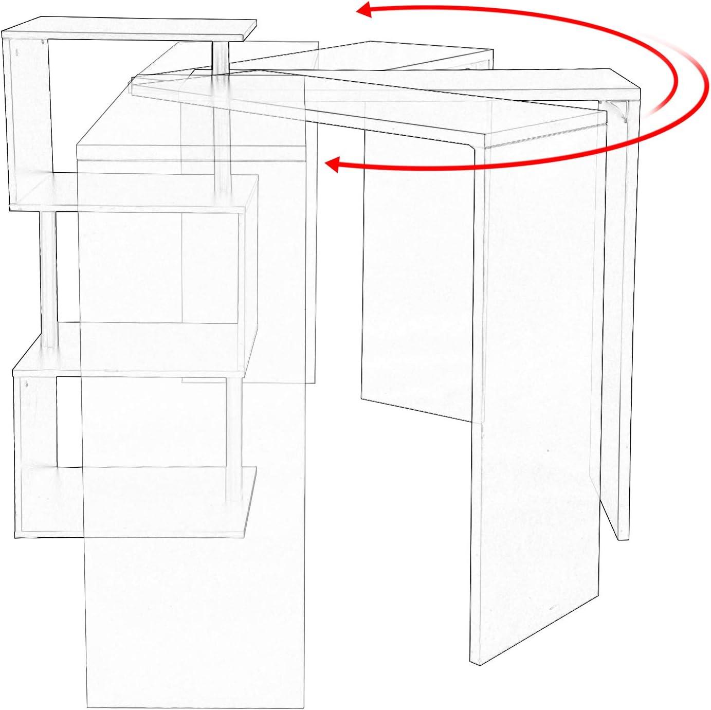 WxDxH Giratorio Estructura de Metal Roble Claro BT27hei MDF WOLTU Mesa de Bar Mesa de Bistro Mesa de Comedor con 3 Estantes 134x38x112cm
