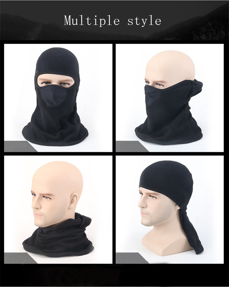 Nachvorn Tactical Balaclava Hood Cold Weather Windproof Ski Mask Motorcycle Helmet Liner Outdoors Neck Warmer Face Mask Running Cycling Snowboarding Fishing Black