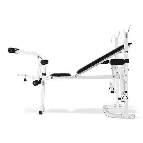 Klarfit Workout Hero Banco de musculación (Pesas, Curl Brazos y piernas, Butterfly, cuádriceps, Estructura Metal, hasta 160 kg, Acolchada Cuero PVC, ...