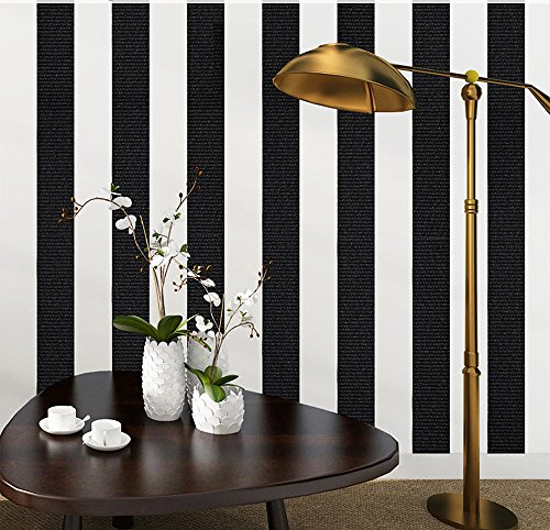 Blooming Wall: Modern Fashion Black&white Stripes Textured Wallpaper Wall Mural Wallpaper Wall Paper Roll, 20.8 In32.8 Ft=57 Sq.ft (And Square White Wallpaper Black)