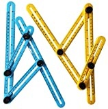 2Pcs Adjustable Measuring Tool, Right Angle Ruler Layout Tools, Angleizer Template for Craftsmen, Builders, Handymen, and DIY (Yellow & Blue)