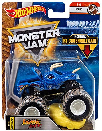 JURASSIC ATTACK HOT WHEELS MONSTER JAM TRUCK MUD 1/6 w/ RE-CRUSHABLE CAR - 2018 CASE A