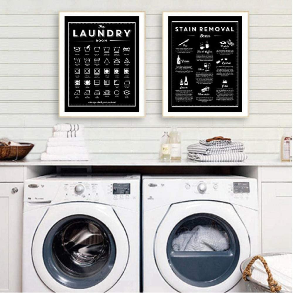 Symbols and Stain Removal Laundry Sign Canvas Art Posters Prints Black White Painting Laundry Room Wall Decor Housewarming Gift-40X50Cmx2 No Frame