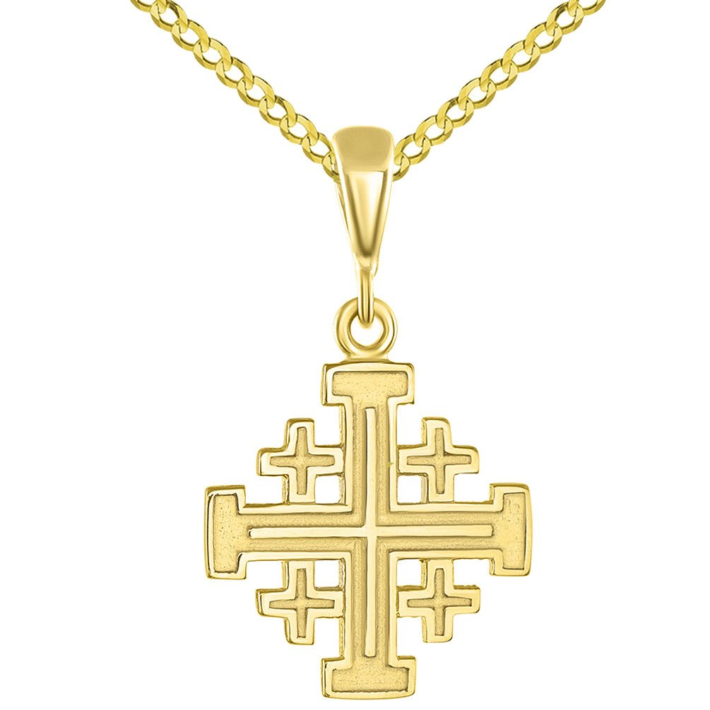 Solid 14K Yellow Gold Crusaders Jerusalem Cross Pendant with Cuban Chain Necklace, 18''