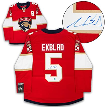 Signed Aaron Ekblad Jersey - Red Fanatics Replica - Autographed NHL Jerseys e0764079b