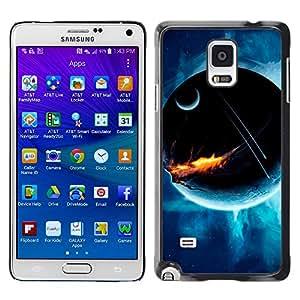 Fuego destrucción de la Tierra - Metal de aluminio y de plástico duro Caja del teléfono - Negro - Samsung Galaxy Note 4