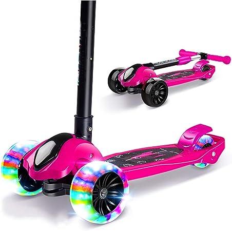 Scooter para niños de 2 a 12 años Rueda Ancha Pedal Simple Scooter Plegable para niños resbaladizos Xuan - Worth Having (Color : Pink): Amazon.es: Hogar