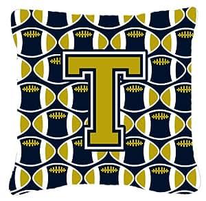 """Caroline tesoros del cj1074-tpw1414letra T fútbol azul y oro Tejido decorativo almohada, 14""""H x 14"""" W, multicolor"""