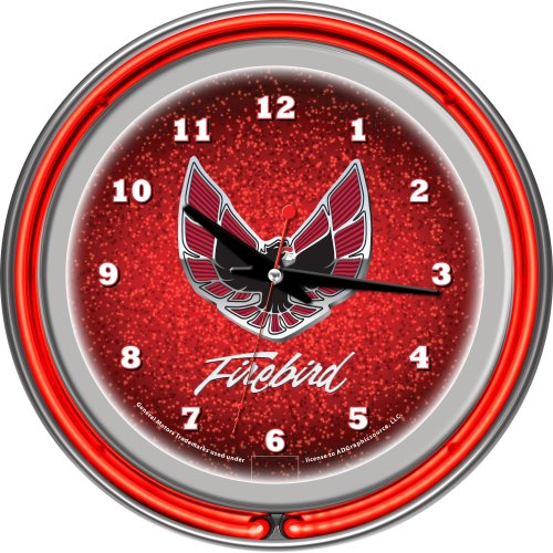 Neon 14 Team Clock - Pontiac Firebird Red Chrome Double Ring Neon Clock, 14