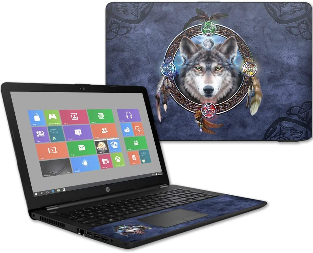 "Mightyskins Skin Compatible with Hp 15t Laptop 15.6"" (2017) - Wolf Dreamcatcher 
