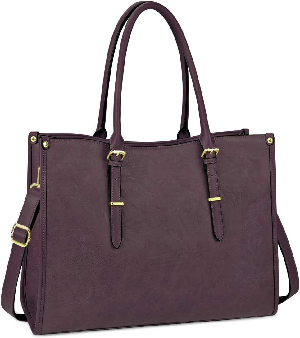Laptop Bag for Women 15.6 Inch Waterproof Lightweight Leather Laptop Tote Bag Womens Professional Business Office Work Bag Briefcase Large Computer Bag Shoulder Handbag Wine Purple