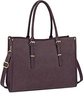 Laptop Bag for Women 15.6 Inch Waterproof Lightweight Leather Laptop Tote Bag Womens Professional Business Office Work Bag Briefcase Large Computer Bag Shoulder Handbag Wine Purple