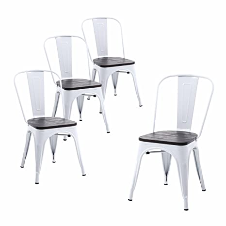 Strange Buschman Set Of Four White Wooden Seat Metal Indoor Outdoor Stackable Chairs With Back Unemploymentrelief Wooden Chair Designs For Living Room Unemploymentrelieforg